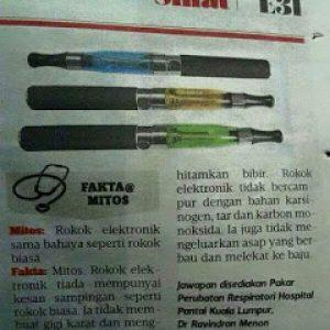 Petikan Akhbar Vape Rokok Elektronik Atau E Cigarette