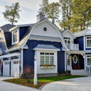 Rumah Warna Biru Putih Menarik