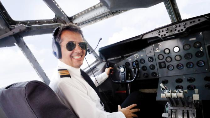Pilot in an airplane cabin
