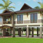 Rekabentuk rumah tinggi corak resort.