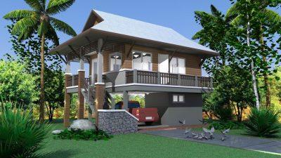 Rekabentuk rumah tinggi kecil.