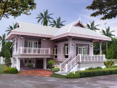 Rumah sederhana tinggi corak tradisional.