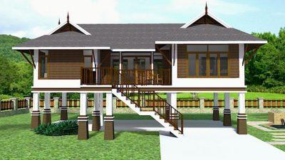 Rumah tinggi gaya Thai dengan bumbung perak.