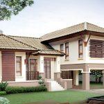 Rumah bungalow bertangga dengan rekabentuk ala kampung.