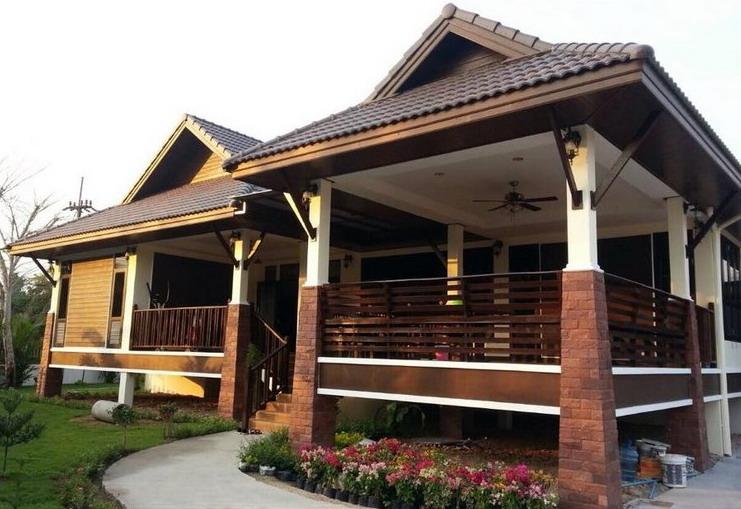 Rumah bungalow rekabentuk resort.