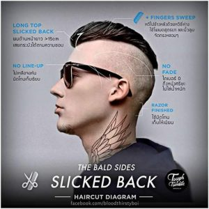 The Bald Sides Slicked Back Hair Style